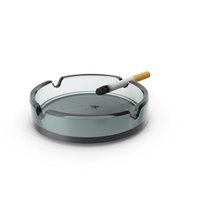 Glass Ashtray with Burning Ciggarete PNG & PSD Images