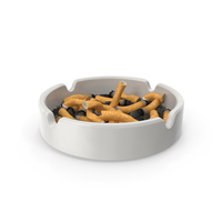 Porcelain Ashtray Filled with Ash and Cigarettes PNG & PSD Images