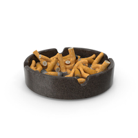 Granite Ashtray Filled with Ash and Cigarettes PNG & PSD Images