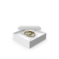 Wedding Gold Rings in a Gift White Box PNG & PSD Images