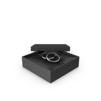 Wedding Silver Rings in a Gift Black Box PNG & PSD Images
