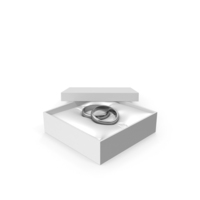 Wedding Silver Rings in a Gift White Box PNG & PSD Images