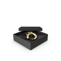 Earrings Gold Hoops in a Gift Black Box PNG & PSD Images