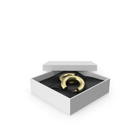 Earrings Gold Hoops in a Gift White Box PNG & PSD Images