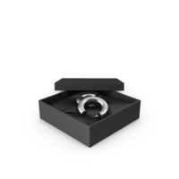 Earrings Silver Hoops in a Gift Black Box PNG & PSD Images