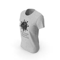 Womens Round Neck T-shirt Coronavirus Message PNG & PSD Images