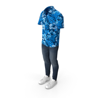 Men Short Sleeve Shirt Jeans and Sneakers PNG & PSD Images