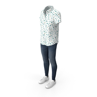 Women Short Sleeve Shirt Jeans and Sneakers PNG & PSD Images
