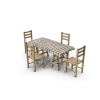 Wood Dining Set PNG & PSD Images