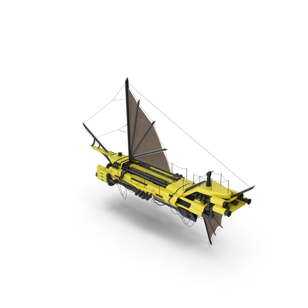 Flying Ship Yellow PNG & PSD Images