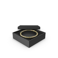 Gold Necklace with Multicolored Stones in a Black Gift Box PNG & PSD Images