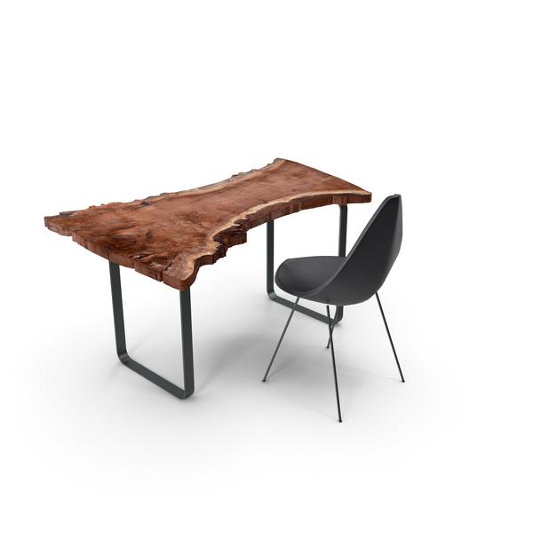 Wood Slab Table Set PNG & PSD Images