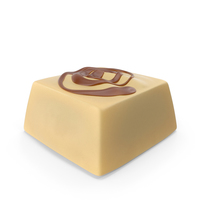 Square White Chocolate Candy with Caramel Line PNG & PSD Images