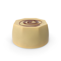 Cylinder Octagon White Chocolate Candy with Caramel Line PNG & PSD Images