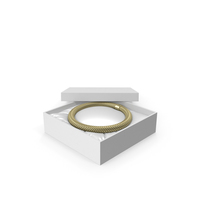 Gold Neck Jewelry in a White Gift Packaging PNG & PSD Images