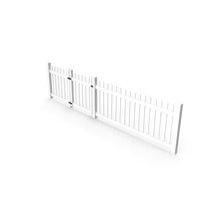 White Picked Fence Section PNG & PSD Images