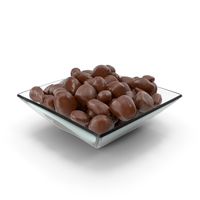 Square Bowl with Almond Chocolate Candy PNG & PSD Images