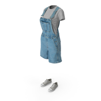 Womens Jean Overall Tshirt Shoes PNG & PSD Images