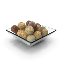 Square Bowl with Mixed Chocolate Balls PNG & PSD Images