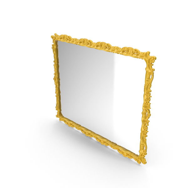 Yellow Baroque Mirror PNG & PSD Images