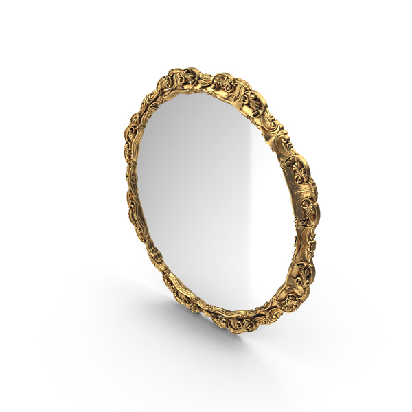 Round Mirror Golden PNG & PSD Images