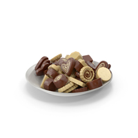 Plate with Truffle Chocolate Candy PNG & PSD Images
