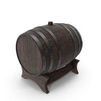 Wooden Barrel Stand Walnut Dark PNG & PSD Images