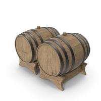 Wooden Barrels Duo Beech Veined PNG & PSD Images