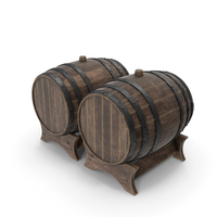Wooden Barrels Duo Old PNG & PSD Images