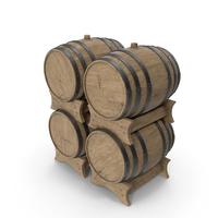 Wooden Barrels Set Beech Veined PNG & PSD Images