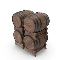 Wooden Barrels Set Walnut PNG & PSD Images