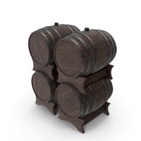 Wooden Barrels Set Walnut Dark PNG & PSD Images