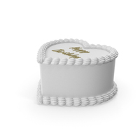 Heart Shape White Birthday Cake PNG & PSD Images