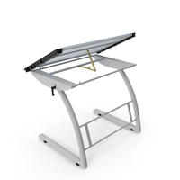 Tiltable Glass Drawing Table White PNG & PSD Images