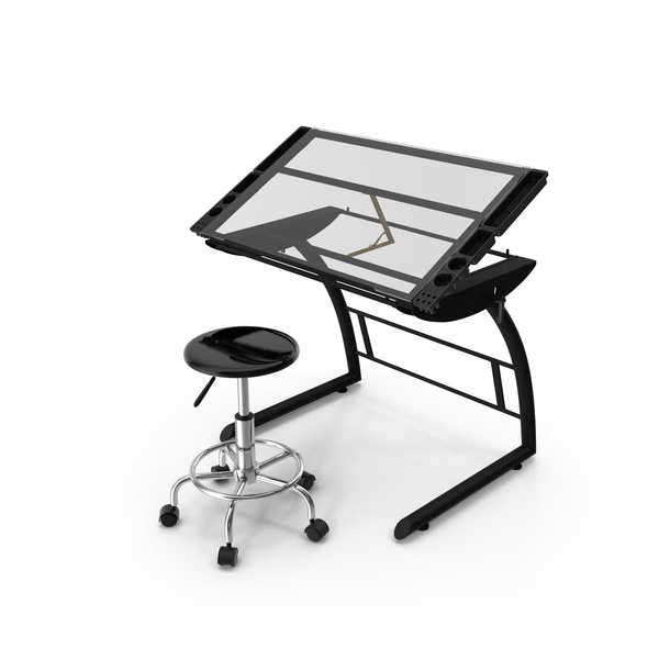 Triflex Height Adjustable Tiltable Glass Drawing Table Set PNG & PSD Images