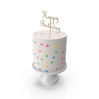 Cake with Gold Happy Birthday Topper PNG & PSD Images