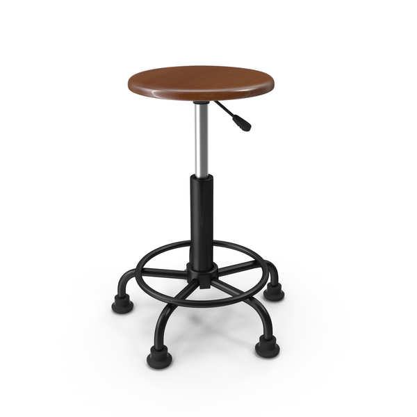 Retro Wood and Metal Drafting Stool PNG & PSD Images