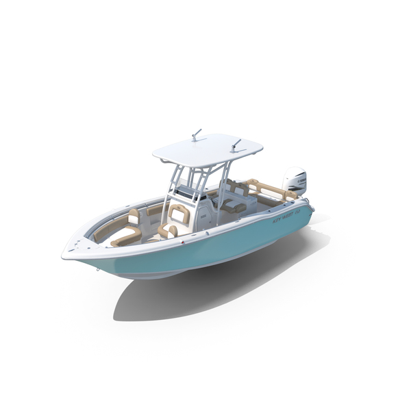 Key West 239FS Fishing Boat and Yamaha 5.3L F350C Engine PNG & PSD Images