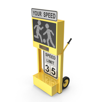 Radar Speed Sign Dolly with Matrix Messaging Display PNG & PSD Images