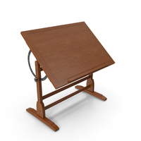 Vintage Wood Drafting Table with Adjustable Top PNG & PSD Images