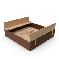 Wooden Sandbox with Sand Castle PNG & PSD Images