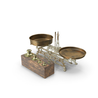 Antique Balance Scale with Weights Set PNG & PSD Images