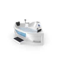 Modern Whirlpool Corner Bathtub with Air Jets PNG & PSD Images