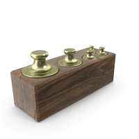 Vintage Balance Scale Weights in Wooden Box PNG & PSD Images