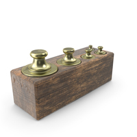 Antique Balance Scale Weights in Wooden Box PNG & PSD Images