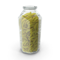 Octagon Jar With Gummy Bananas PNG & PSD Images
