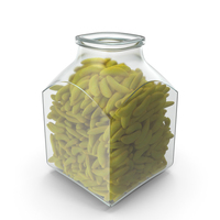 Square Jar with Gummy Bananas PNG & PSD Images