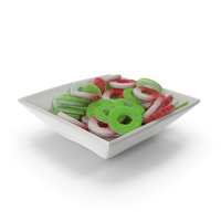 Square Bowl with Sugar Coated Gummy Rings PNG & PSD Images