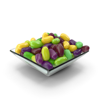 Square Bowl with Jelly Beans Green Purple PNG & PSD Images