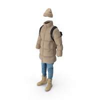 Mens Down Coat Jeans Pullover Hat Backpack Boots Beige PNG & PSD Images